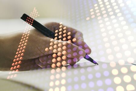 Creative abstract upward arrows hologram and man hand writing in diary on background, leadership and motivation concept. Multiexposure