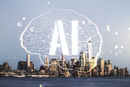 Double exposure of creative artificial Intelligence interface on New York city skyscrapers background. Neural networks and machine learning concept Archivio Fotografico