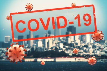 Concept city closed for quarantine due to coronavirus, COVID-19. San Francisco, California