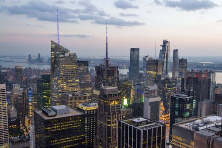 Beautiful aerial view of New York city skyline at evening, USA
