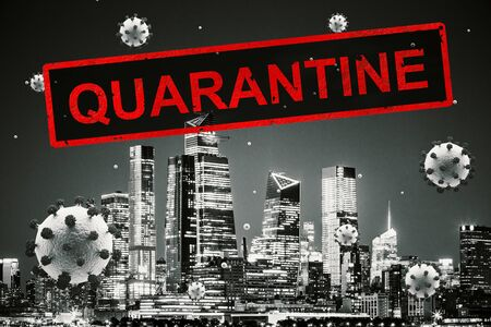 Concept city closed for quarantine due to COVID-19. Manhattan, New York city, USA