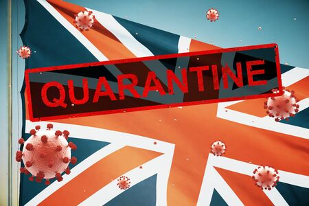 Concept of a quarantined country with the British flag, due to the coronavirus