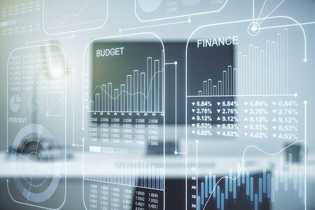 Abstract creative analytics data spreadsheet on modern computer background, analytics and analysis concept. Multiexposure