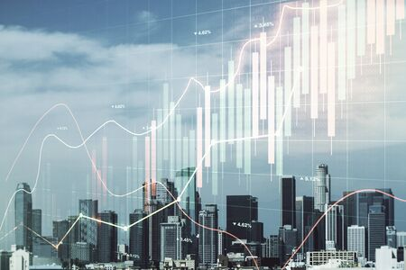 Multi exposure of virtual abstract financial graph interface on Los Angeles cityscape background, financial and trading concept Standard-Bild