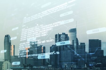 Multi exposure of abstract creative coding sketch on Los Angeles city skyline background, artificial intelligence and neural networks concept