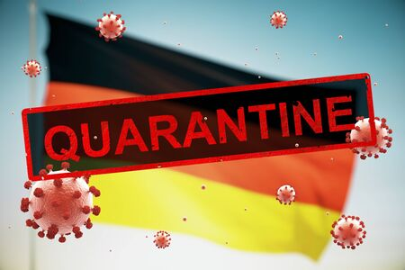 Concept of a quarantined country with a German flag, due to the coronavirus COVID-19 Stock fotó