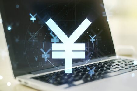 Double exposure of creative Japanese Yen symbol hologram on laptop background. Banking and investing concept Stock Photo