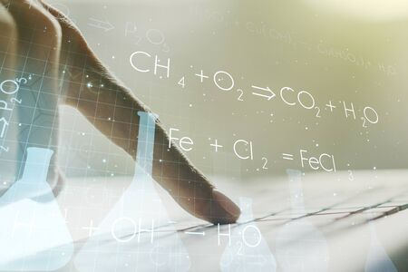 Creative chemistry illustration with hands typing on computer keyboard on background, science and research concept. Multiexposure Banque d'images