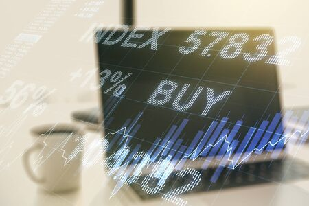Multi exposure of abstract creative financial graph on modern computer background, forex and investment concept 스톡 콘텐츠