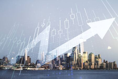 Abstract creative financial diagram and upward arrow hologram on New York city office buildings background, growth and development concept