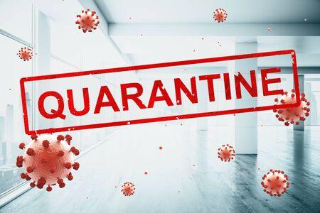 Concept empty corporate office closed for quarantine due to coronavirus, COVID-19 Stock fotó