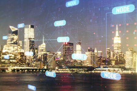 Abstract virtual coding concept on New York city skyline background. Multiexposure