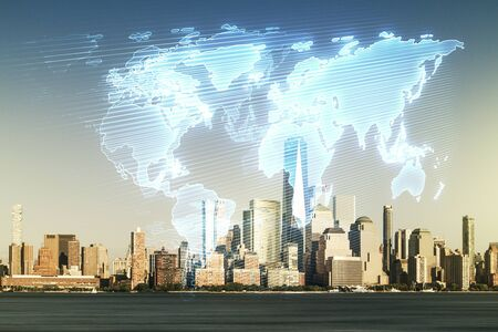 Abstract creative world map interface on New York city skyline background, international trading concept. Multiexposure