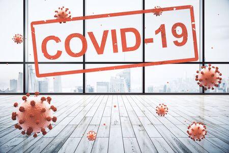 Concept office interior closed for quarantine due to coronavirus, COVID-19 Stock Photo