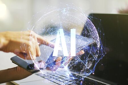 Creative artificial Intelligence symbol concept with finger presses on a digital tablet on background. Double exposure Фото со стока