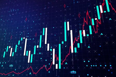Abstract growing financial chart with candlesticks on a blue background. Forex and trading concept. 3D Rendering