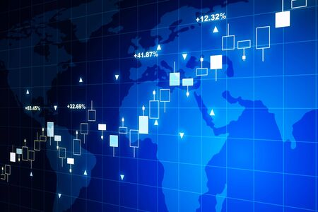 Financial chart on a blue world map background. 3D Rendering Imagens