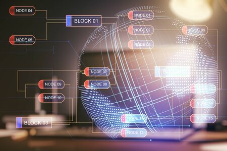Double exposure of abstract creative programming illustration with world map on computer background, big data and blockchain concept