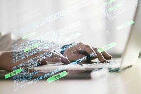 Multi exposure of abstract graphic coding sketch with hands typing on computer keyboard on background, big data and networking concept Banque d'images
