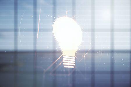 Abstract virtual light bulb hologram on empty classroom background, idea concept. Multiexposure