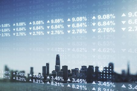 Multi exposure of stats data illustration on San Francisco city skyline background, computing and analytics concept