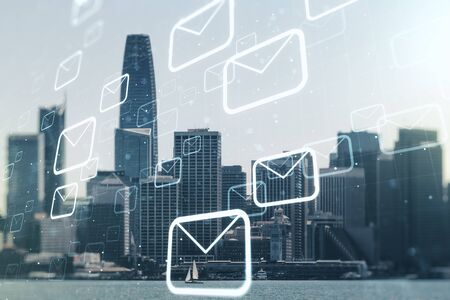 Abstract virtual postal envelopes hologram on San Francisco cityscape background, email and notification concept. Multiexposure