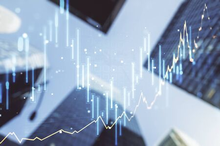 Multi exposure of abstract financial chart on office buildings background, research and analytics concept