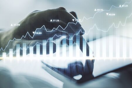 Abstract creative financial graph with finger clicks on a digital tablet on background, financial and trading concept. Multiexposure Фото со стока