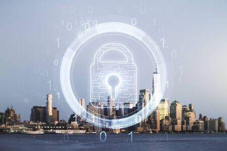 Virtual creative lock sketch with chip hologram on Manhattan office buildings background, protection of personal data concept. Multiexposure
