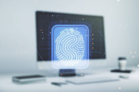 Abstract creative fingerprint illustration on modern computer background, personal biometric data concept. Multiexposure