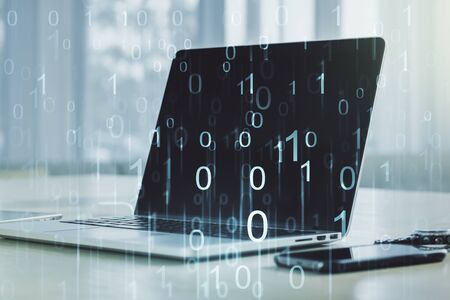 Creative concept of binary code illustration on modern laptop background. Big data and coding concept. Multiexposure