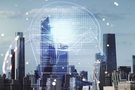 Double exposure of creative artificial Intelligence hologram on New York city skyscrapers background. Neural networks and machine learning concept