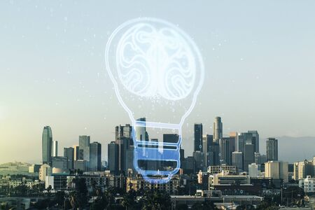 Abstract virtual light bulb illustration with human brain on Los Angeles cityscape background, future technology concept. Multiexposure
