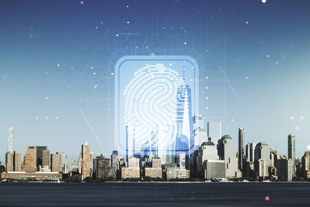 Abstract virtual fingerprint illustration on New York cityscape background, personal biometric data concept. Multiexposure
