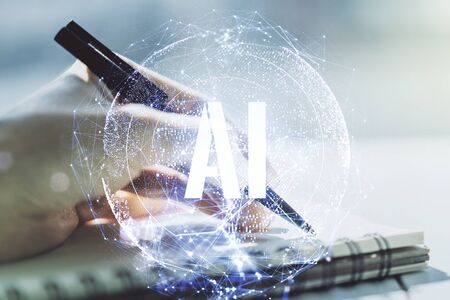 Creative artificial Intelligence symbol concept with woman hand writing in notebook on background. Multiexposure