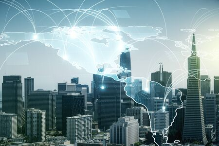 Double exposure of abstract digital world map hologram with connections on San Francisco office buildings background, big data and blockchain concept