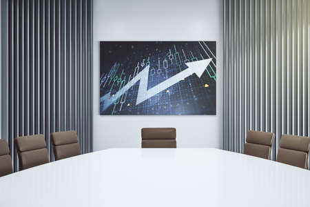 Abstract creative financial diagram and upward arrow on presentation monitor in a modern boardroom, growth and development concept. 3D Rendering