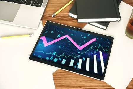 Abstract creative financial graph with upward arrow on modern digital tablet monitor, forex and investment concept. Top view. 3D Rendering