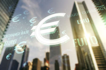 Virtual EURO symbols sketch on blurry cityscape background, strategy and forecast concept. Multiexposure