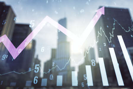 Abstract virtual financial graph hologram and upward arrow on office buildings background, forex and investment concept. Multiexposure 写真素材
