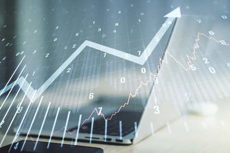Abstract creative financial graph with upward arrow on modern computer background, financial and trading concept. Multiexposure 写真素材