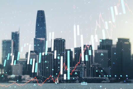 Double exposure of virtual creative financial diagram on San Francisco office buildings background, banking and accounting concept 写真素材