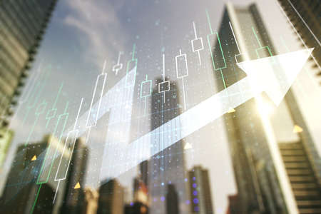 Multi exposure of abstract financial diagram and upward arrow on blurry cityscape background, rise and breakthrough concept