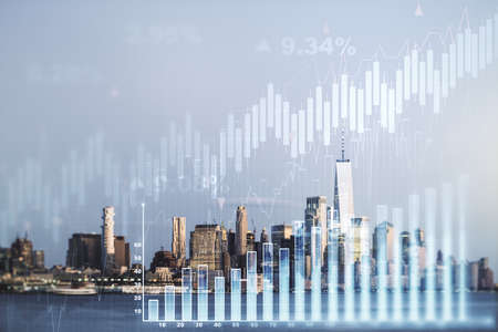 Multi exposure of abstract virtual financial graph hologram on New York skyline background, forex and investment concept