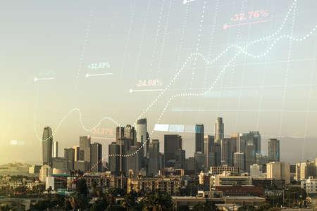 Abstract virtual stats data hologram on Los Angeles skyline background. Multiexposure 写真素材