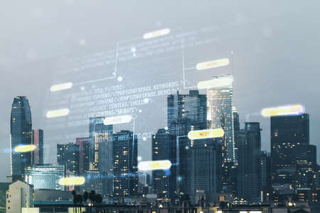 Multi exposure of abstract programming language hologram on Los Angeles office buildings background, artificial intelligence and machine learning concept