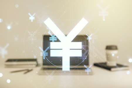 Creative Japanese Yen symbol illustration on modern computer background, forex and currency concept. Multiexposure
