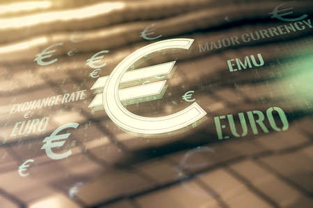 Virtual EURO symbols illustration on abstract metal background, forex and currency concept. Multiexposure