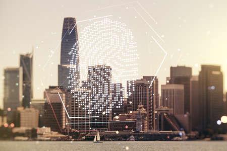 Multi exposure of virtual graphic fingerprint sketch on San Francisco cityscape background fingerprint scan data concept Stockfoto