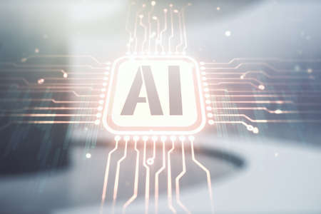 Abstract virtual artificial Intelligence symbol hologram on empty corporate office background. Multiexposure